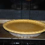 Pie going in the oven